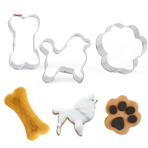 Dog Paw Bone Shape Cookie Cutter 3Pcs Set