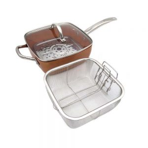 Copper Square Pan & Frying Basket