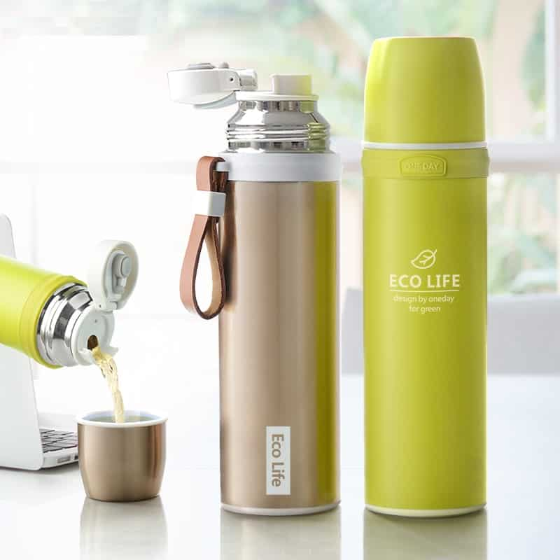 Stainless Steel Thermal Bottle With Leather Strap
