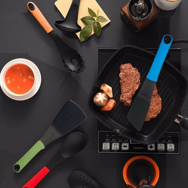 7Pcs Silicone Utensils Set With Stand Holder