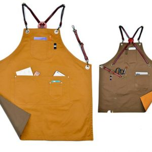 Double Side Color Denim Apron With Leather Strap