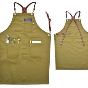 Denim Multi-color Apron With Leather Strap