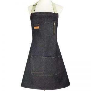 Black Denim Apron With Zipper Pocket