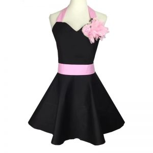 Elegant Flower Design Black Apron