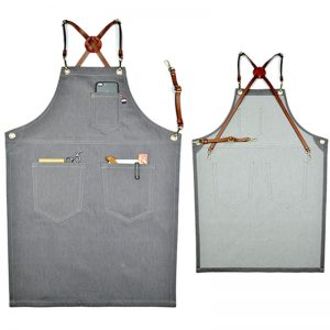 Gray Denim Apron With Leather Strap
