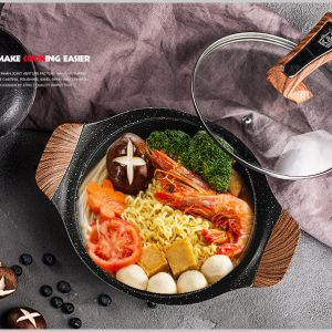 Natural stone Stockpot With Wooden Handles