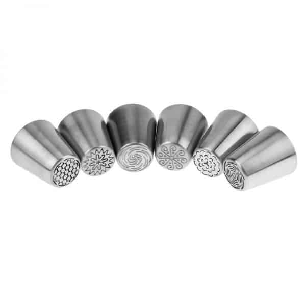 6Pcs/set Russian Stainless Steel Icing Nozzles