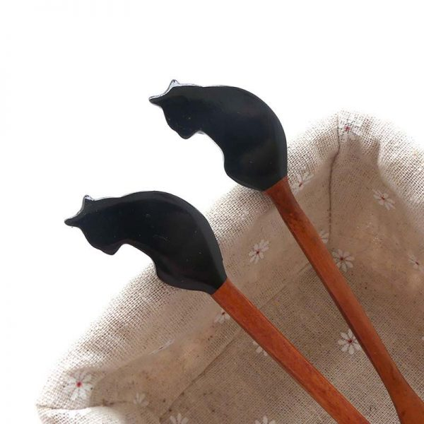 Cat Stirring Spoon Long Handle Wooden – 1Pc