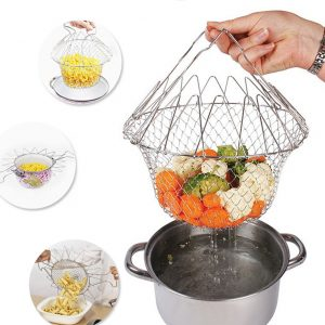 Stainless Steel Chef Basket Collapsible Colander