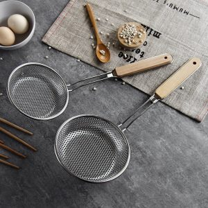 Stainless Steel Colander Wooden Handle