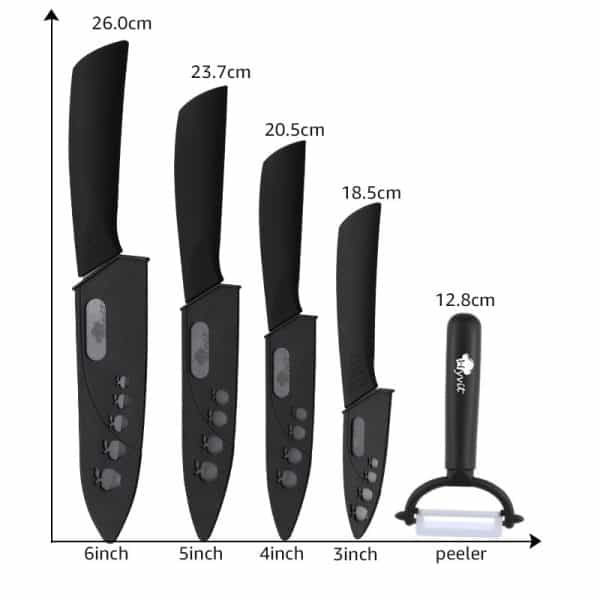Ceramic Knife Set with Stand & Peeler