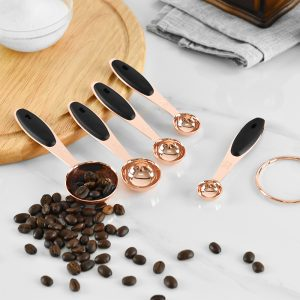 Wood Handles Rose Gold Measuring Spoons 5Pcs Set