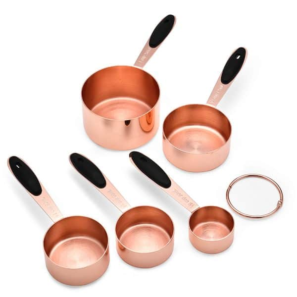 5Pcs Stainless Steel Measuring Cups Copper Plated