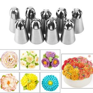 9Pcs Stainless Steel Cream Icing Nozzles