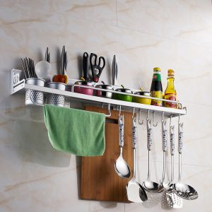 Aluminum Wall Mounted Utensils Rack For Kitchen