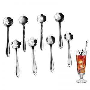 8Pcs Flower Shape Stainless Steel Tea & Coffee Spoon