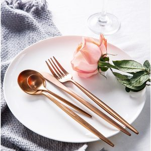 4 Pcs/set Rose Gold Dinnerware