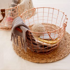 Nordic Style Rose Gold Storage Basket