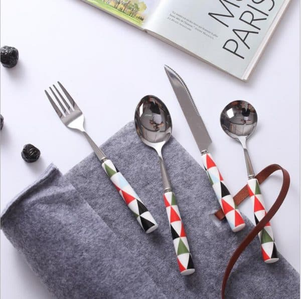 Nordic Style Ceramic Handle Utensils 4Pcs Set