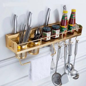 Rose Gold Aluminum Utensils Rack