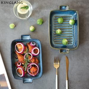 Blue Glazed Porcelain Baking Dish